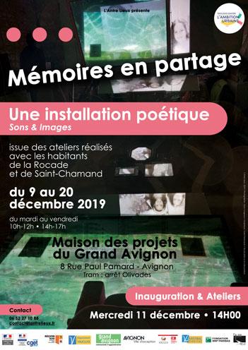 """Affiche Installation poétique """"Mémoires en partage"""""""